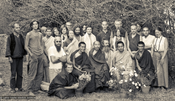 Group photo from the first meditation course held at Kopan Monastery, April, 1971. Left to right, front row: Zina Rachevsky, Lama Zopa Rinpoche, Geshe Thubten Tashi, Age Delbanco (Babaji), Lama Yeshe, Losang Nyima. Fred Von Allmen is at far left, Claudio Cipullo second from the end on the right, and Mark Shaneman is standing directly behind Babaji.  Source: Lama Yeshe Wisdom Archive.