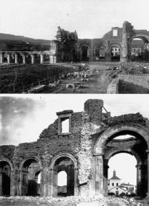 Ruderi dell'antica chiesa della certosa, demoliti nel 1898. Archivio della Certosa di Serra San Bruno, lastre fotografiche di fine Ottocento