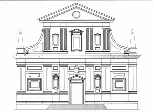 Ricostruzione grafica della facciata della chiesa cinquecentesca della certosa di Serra San Bruno (D. Puntieri)