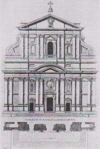 Jacopo Della Porta, facciata della chiesa del Gesù, incisione di Villamena.