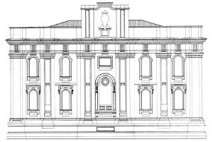 Rilievo della facciata posteriore della Tribuna di San Giovanni di Malta a Messina (da F. PAOLINO, 1990).