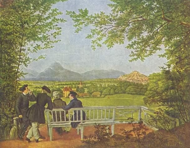 Julius Schoppe, Veduta di Salisburgo, 1817