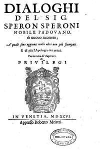 I dialoghi di Sperone Speroni.
