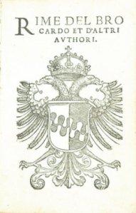 Editio princeps delle rime di Antonio Brocardo. Venezia, 1538.