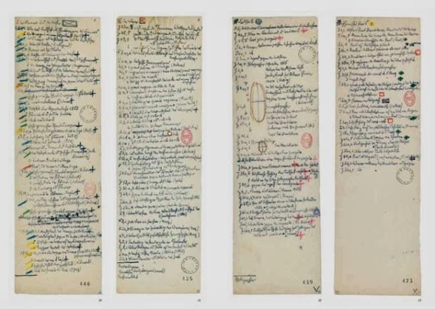 Benjamin's handwritten notes (Courtesy of BNF)