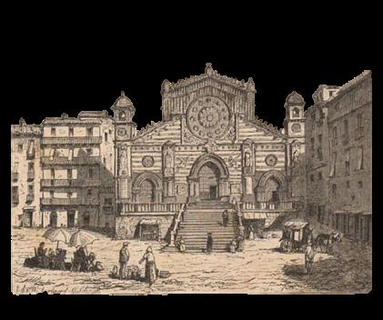 Cosenza, Piazza Duomo, 1874, incisione tedesca